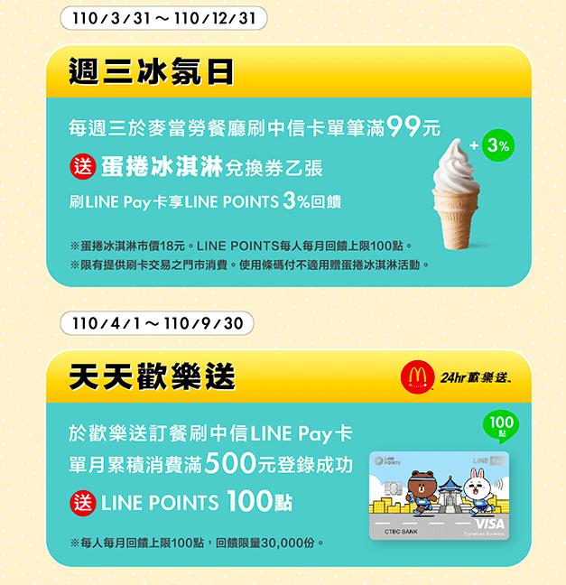 中國信託麥當勞line pay回饋2021。